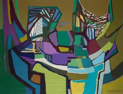 Reprodução de obra de tapeçaria do artista Burle Marx